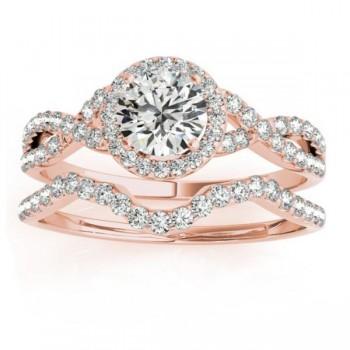 Twisted Infinity Engagement Ring Bridal Set 18k Rose Gold 0.27ct