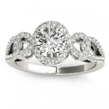 Twisted Shank Halo Diamond Engagement Ring Setting 14k W. Gold 0.35ct