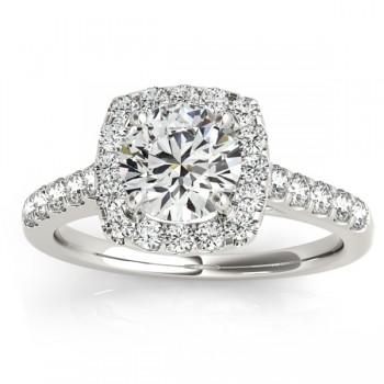 Halo Square Diamond Engagement Ring 14k White Gold (0.38ct)