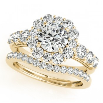 Diamond Frame Flower Ring & Band Bridal Set in 14k Yellow Gold (2.30ct)