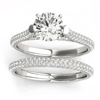 Diamond Accented Bridal Set Setting 14K White Gold (1.02ct)