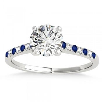 Diamond & Blue Sapphire Single Row Engagement Ring 14k White Gold (0.11ct)