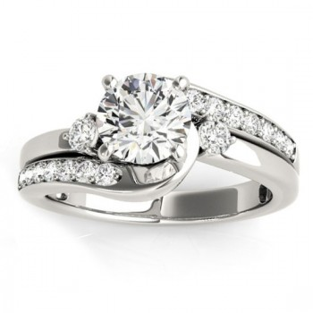 Swirl Design Diamond Engagement Ring Setting 14k White Gold 0.38ct