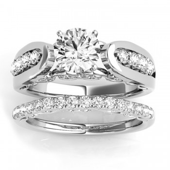 Diamond Accented Single Row Setting Bridal Set 14k White Gold (0.40ct)