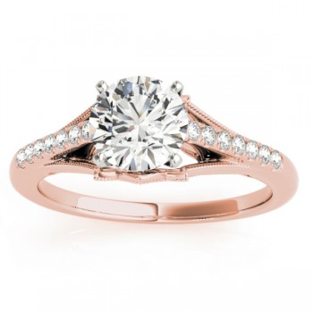 Diamond Accented  Engagement Ring Setting 18k Rose Gold (0.11ct)