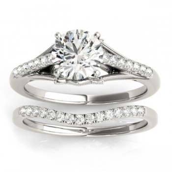 Diamond Accented Bridal Set Setting 14k White Gold (0.20ct)