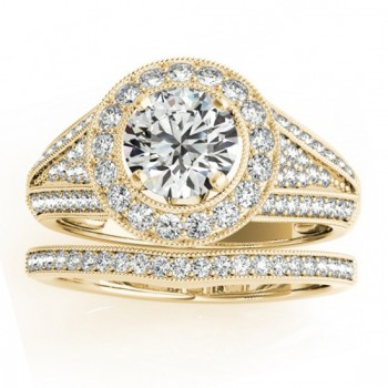 Halo Split Shank Diamond Accented Bridal Set in 14k Yellow Gold 0.75ct