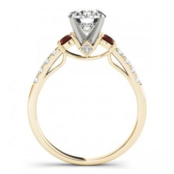 Diamond & Garnet Three Stone Engagement Ring 18k Yellow Gold (0.43ct)