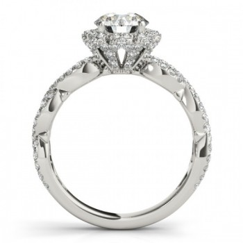 Twisted Halo Diamond Flower Engagement Ring Setting 14k W. Gold 0.63ct