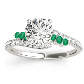 Diamond & Emerald Bypass Engagement Ring 14k White Gold (0.45ct)