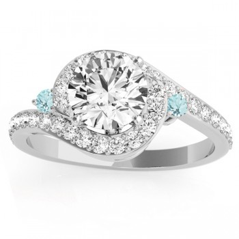 Halo Swirl Aquamarine & Diamond Engagement Ring 14k White Gold (0.48ct)