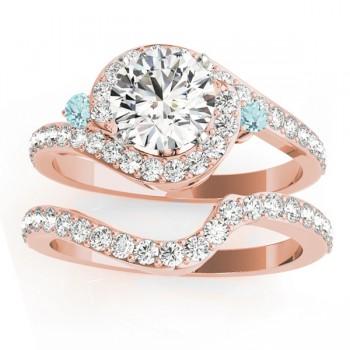 Halo Swirl Aquamarine & Diamond Bridal Set 18K Rose Gold (0.77ct)