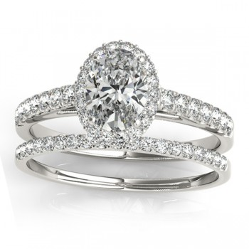 Diamond Accented Halo Oval Shaped Bridal Set 14k White Gold (0.37ct)