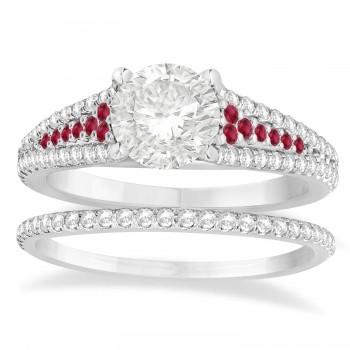 Ruby & Diamond 3 Row Bridal Set 14k White Gold (0.47ct)
