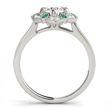 Emerald & Diamond Floral Engagement Ring 14K White Gold (0.23ct)