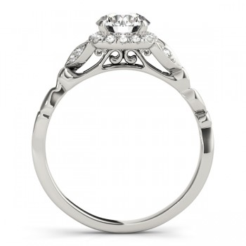 Butterfly Halo Diamond Engagement Ring 14k White Gold (0.14ct)