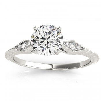 Diamond Accented Sidestone Engagement Ring Setting 14k White Gold (0.26ct)