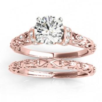 Diamond Antique Style Bridal Set Setting 18k Rose Gold (0.12ct)