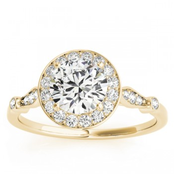 Halo Diamond Accent Engagement Ring Setting 18k Yellow Gold (0.17ct)