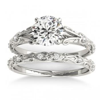 Diamond Antique Style Bridal Set 14k White Gold (0.07ct)