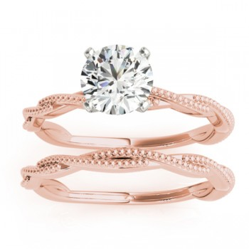 Solitaire Twist Engagement Ring & Wedding Band 18k Rose Gold