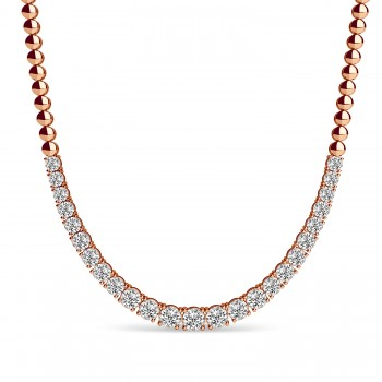 Diamond Graduated Tennis Necklace 14k Rose Gold (5.00ct) This luxurious diamond tennis necklace features 25 stunning diamonds with a total carat weight of 5.00ct. The bright diamonds are round-shaped and prong-set, of G-H color and SI1-SI2 clarity. The four prongs have stones going halfway around with balls on the other half.This necklace is crafted in a shiny 14k Rose Gold and can be purchased in different metals too. Choose your own size between 16 and 18.The perfect complement to any dress or gown, this diamond necklace can be worn at weddings, parties, or other fancy events!