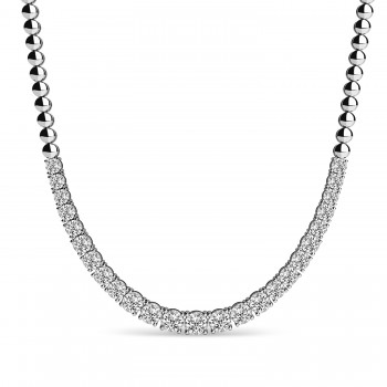 Lab Grown Diamond Graduated Tennis Necklace 18k White Gold (5.00ct) This luxurious diamond tennis necklace features 25 stunning lab grown diamonds with a total carat weight of 5.00ct. The bright diamonds are round-shaped and prong-set, of G-H color and SI1-SI2 clarity. The four prongs have stones going halfway around with balls on the other half.This necklace is crafted in a shiny 18k White Gold and can be purchased in different metals too. Choose your own size between 16 and 18.The perfect complement to any dress or gown, this diamond necklace can be worn at weddings, parties, or other fancy events!