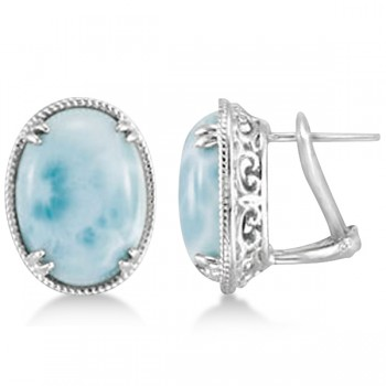 Vintage Oval Larimar Stud Earrings 16x12mm Gemstones Sterling Silver Aqua blue larimar gemstone earrings add mystery to any outfit.These contemporary studs feature oval shaped larimar stones, surrounded by a rope-like design of sterling silver, creating a pair of unusual studs you'll love wearing.Each 16x12mm large cabochon cut larimar gemstone is prong set into a lever-back stud earring that will quickly become her favorite fashion accessory.
