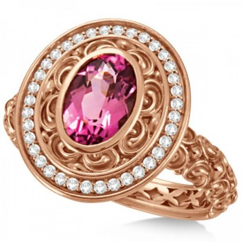 Diamond & Oval Pink Tourmaline Halo Carved Ring 14k Rose Gold (1.20ct) This diamond halo accented oval pink tourmaline fashion ring is created in an art deco style.The center oval shaped pink tourmaline stone is 7x5mm. There is a halo of 36 round diamonds surrounding the center stone, weighing 0.20 carats.Crafted in 14k rose gold this diamond halo accented oval pink tourmaline fashion ring is a great accessory for a night on the town.