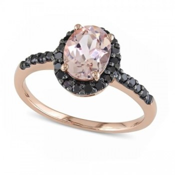 Oval Morganite & Black Diamond Halo Fashion Ring 14k Rose Gold 1.30ct In fashion favorite colors of pink and black, this oval shaped pink morganite and black diamond ring is surely every girl's must-have accessory.This right hand ring features an oval shaped, glittering, pink morganite at the center, framed by a halo and side stone accents of black diamonds set in rhodium plated 14k rose (pink) gold.With a total weight of about 1.30 carats, this 14k rose gold, morganite and black diamond halo ring also makes a unique engagement ring.