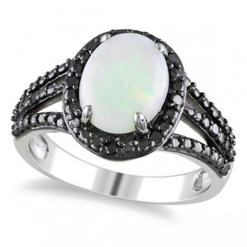 White Opal Black Diamond Halo Fashion Ring in Sterling Silver (1.76ct) This white opal and black diamond halo fashion ring is a stunning display of contrasts.A luminous, oval shaped, white opal (about 1.66 carats) has about 10 sparkling, black diamonds (nearly 0.10 carats) in a halo setting on black, rhodium plated sterling silver.A split shank design with 3 rows of finely carved rhodium plated sterling silver makes this ring that ultimate fashion accessory for any lady.