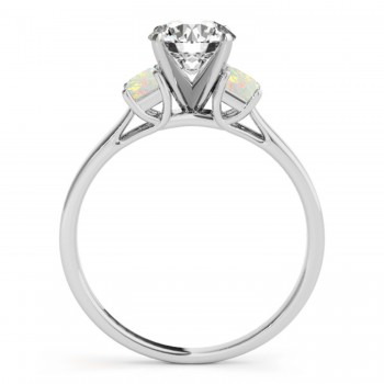 Trio Emerald Cut Opal Engagement Ring 14k White Gold (0.30ct)