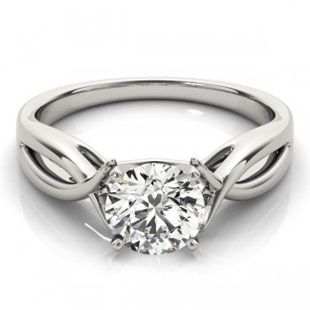 Solitaire Bypass Engagement Ring Setting 14k White Gold