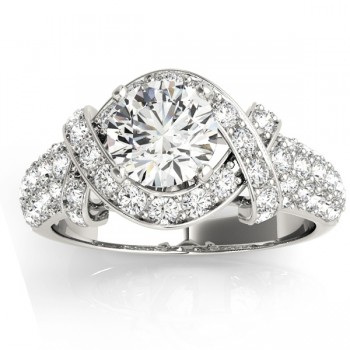 Diamond Twisted Engagement Ring Setting 14k White Gold (0.58ct)