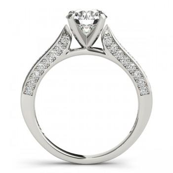 Diamond Sidestone Accented Engagement Ring 14k White Gold (0.50ct)