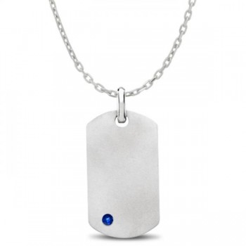 Engravable Dog Tag Pendant w/ Blue Sapphire in Sterling Silver 0.15 Make this unique dog tag your very own by engraving a name, initials, or a message, customized according to your specifications.This two-sided dog tag features one 3mm genuine blue sapphire and also includes a 2mm, 18 inch bead chain.