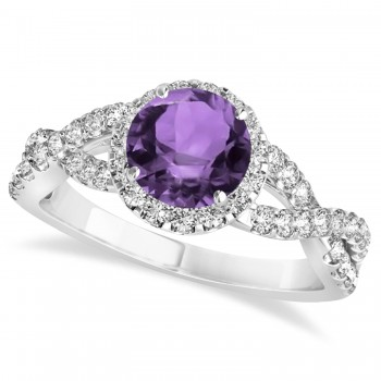 Amethyst & Diamond Twisted Engagement Ring 14k White Gold 1.20ct A twist on the ordinary engagement ring, this infinity style, twisted Amethyst & diamond ring is sure to delight.Set in 14k white gold, this preset Amethyst & diamond engagement ring features a hand chosen center stone as well as stunning side stones accenting the halo and the infinity ring's shank.Sharing the fire and light of about one and half carats of conflict free diamonds, this Amethyst & diamond infinity halo engagement ring is filled with brilliant promise.