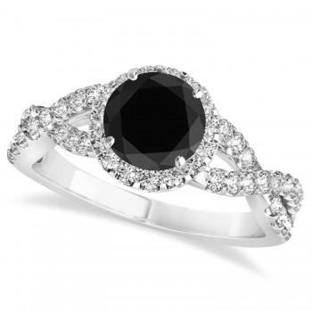 Black Diamond & Diamond Twisted Engagement Ring 14k White Gold 1.30ct A twist on the ordinary engagement ring, this infinity style, twisted black diamond & diamond ring is sure to delight.Set in 14k white gold, this preset black diamond & diamond engagement ring features a hand chosen center stone as well as stunning side stones accenting the halo and the infinity ring's shank.Sharing the fire and light of about one and half carats of conflict free diamonds, this black diamond & diamond infinity halo engagement ring is filled with brilliant promise.