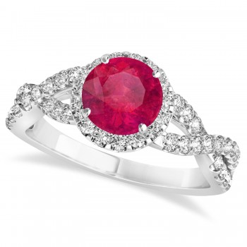 Ruby & Diamond Twisted Engagement Ring 14k White Gold 1.55ct A twist on the ordinary engagement ring, this infinity style, twisted ruby & diamond ring is sure to delight.Set in 14k white gold, this preset ruby & diamond engagement ring features a hand chosen center stone as well as stunning side stones accenting the halo and the infinity ring's shank.Sharing the fire and light of about one and half carats of conflict free diamonds, this ruby & diamond infinity halo engagement ring is filled with brilliant promise.