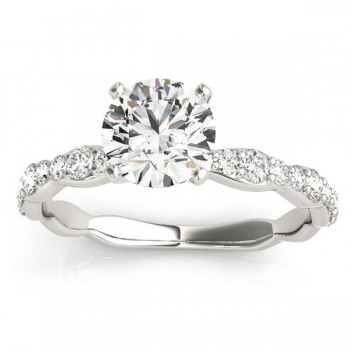 Solitaire Contoured Shank Diamond Engagement Ring 14k White Gold (0.33ct) For those wanting the freedom to create a signature diamond engagement ring, the Design Your Own feature is the perfect opportunity to achieve a personalized style.   This extraordinary 14k white gold setting features a delicate silhouette that draws attention to the center stone, along with a contoured diamond-accented band that sparkles from all angles.   A total of 18 brilliant round-cut side stones totaling 0.33 carats are divided evenly on either side of the center diamond and provide a dazzling accompaniment to the ring's focal point.   Choose your favorite diamond cut with carat weights ranging between 0.25-3.50 carats fastened in a traditional prong setting.