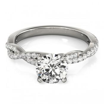 Diamond Twist Sidestone Accented Engagement Ring 14k White Gold (0.19ct)