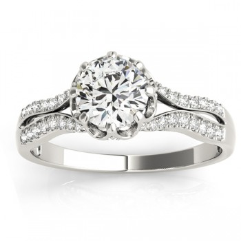 Diamond Twisted Style Engagement Ring Setting 14k White Gold (0.18ct)