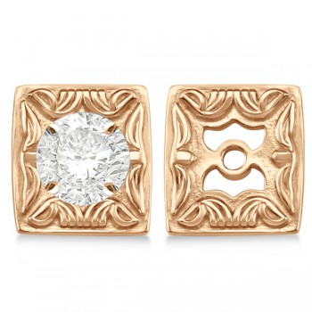Scrollwork Fashion Earring Jackets in Plain Metal 14k Rose Gold These elegant antique style scrollwork fashion earring jackets are a must have jewelry accessory.The earring jackets are 6.85mm wide and 7.45 mm long.Crafted in beautiful 14k rose gold these scrollwork fashion earring jackets will dress up any stud earrings.