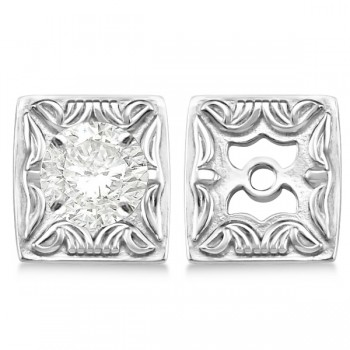 Scrollwork Fashion Earring Jackets in Plain Metal 14k White Gold These antique style scrollwork fashion earring jackets are a must have jewelry accessory.The earring jackets are 6.85mm wide and 7.45 mm long.Crafted in 14k white gold these scrollwork fashion earring jackets will dress up any stud earrings.