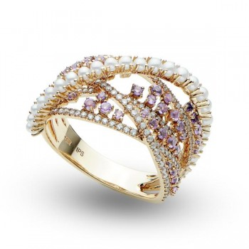 Pearl, Diamond and Amethyst Cocktail Fashion Ring 14k Rose Gold 0.99ct For an alluring piece of jewelry, this multi-stone cocktail ring will astound her. Crafted in 14k Rose (pink) Gold, this pearl, diamond and amethyst ring will easily become her favorite accessory.Freshwater pearls that are round and white adorn this ring from one end of the band and curves to the top of the band. These pearls are 1.5-2mm in size. Dazzling round diamonds and amethyst gemstones decorated the ring on either side of the pearls for a beautiful design.Total carat weight for the conflict free diamonds and genuine amethyst gemstones is nearly one carat.
