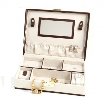 Ivory & Brown Leather Jewelry Box w/ Compartments, 2 Watch Pillows Ivory & Brown Leather Jewelry Box w/ Compartments, 2 Watch Pillows