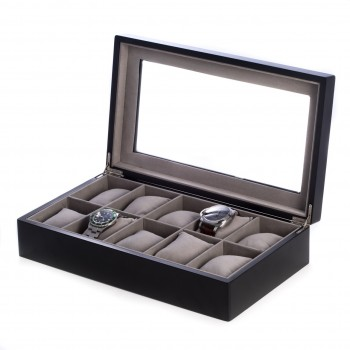 Matte Wood 10 Watch Box w/ Glass Top and Velour Lining & Pillows Matte Wood 10 Watch Box w/ Glass Top and Velour Lining & Pillows