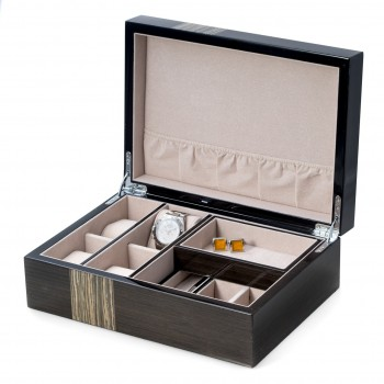 Ash Wood Valet Box w/ Compartments, 4 Watch Pillow & Removable Tray Ash Wood Valet Box w/ Compartments, 4 Watch Pillow & Removable Tray