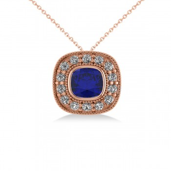 Blue Sapphire & Diamond Halo Cushion Pendant Necklace 14k Rose Gold (1.62ct) The classic cushion cut's pillow shape and larger facets accentuate the intense hues of colored gemstones. This vintage-inspired halo pendant necklace features a cushion cut blue sapphire center stone that's encircled by a halo of accent diamonds for added brilliance and sparkle. Crafted in 14k rose gold, the pendant is decorated with milgrain and scroll detailing. With your purchase, select a matching chain in your choice of 16 or 18 length. Gemstones have a combined 1.26 total carat weight. The blue sapphire is rated eye clean for clarity. Diamonds are all prong set and rated G-H for color and SI1-SI2 for clarity. Also available in other metals, and set with other precious and semi-precious stones.