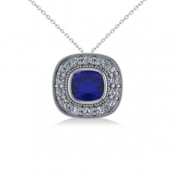 Blue Sapphire & Diamond Halo Cushion Pendant Necklace 14k White Gold (1.62ct) A favorite of celebrities, the classic cushion cut's pillow shape and larger facets accentuate the intense hues of colored gemstones. This vintage-inspired halo pendant necklace features a cushion cut blue sapphire center stone that's encircled by a halo of accent diamonds for additional brilliance and sparkle. Crafted in 14k white gold, the pendant is further decorated with milgrain and scroll detailing. With your purchase, select a matching chain in your choice of 16 or 18 length. Gemstones have a combined 1.62 total carat weight. The blue sapphire is rated eye clean for clarity. Diamonds are all prong set and rated G-H for color and SI1-SI2 for clarity. Also available in other metals, and set with other precious and semi-precious stones.
